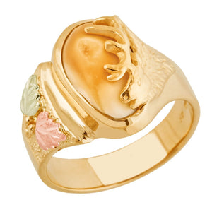 Monarch Elk Ivory Gold Ladies Ring