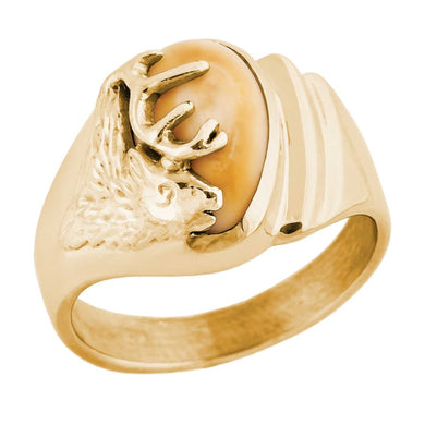 Saratoga Elk Ivory Gold Ladies Ring