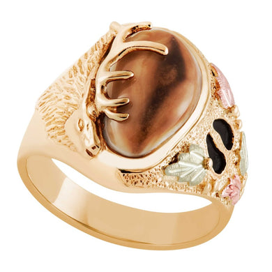 Wapiti Elk Ivory Gold Mens Ring