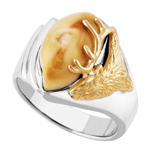 Whitewater Elk Ivory Gold Ladies Ring