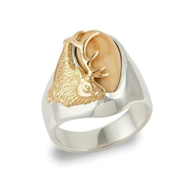 Bridger Elk Ivory Gold Ladies Ring
