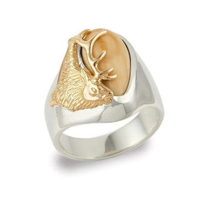 Bridger Elk Ivory Sterling Silver Ladies Ring