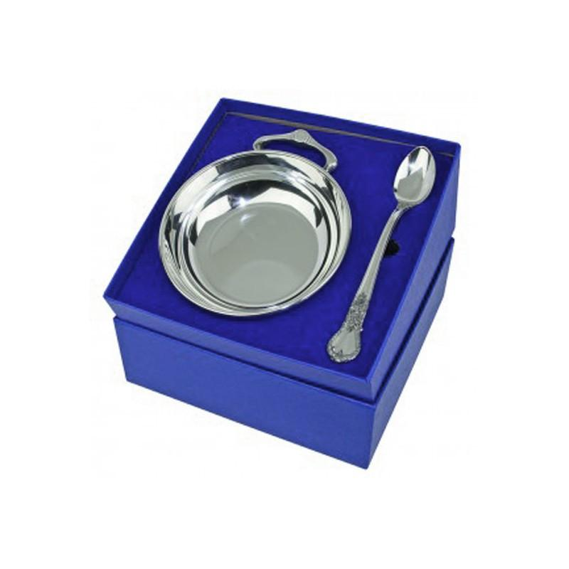 Porringer & Feeding Spoon Gift Set in Pewter