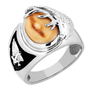 Arrowhead Elk Ivory Sterling Silver Mens Ring