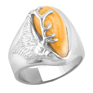 Teton Elk Ivory Sterling Silver Mens Ring