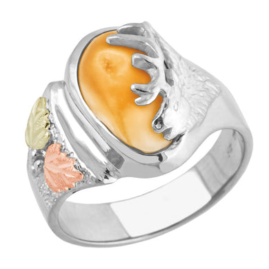 Monarch Elk Ivory Sterling Silver Ladies Ring