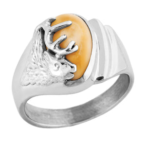 Saratoga Elk Ivory Sterling Silver Ladies Ring