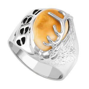 Tracker Elk Ivory Sterling Silver Mens Ring