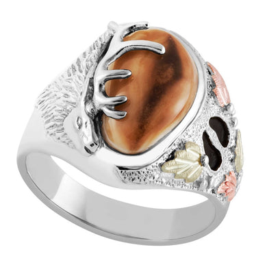 Wapiti Elk Ivory Sterling Silver Mens Ring
