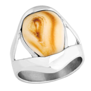 Fallon Elk Ivory Sterling Silver Mens Ring