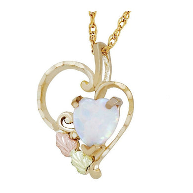 Black Hills Gold Opal Heart Pendant & Necklace - Fortune And Glory - Made in USA Gifts