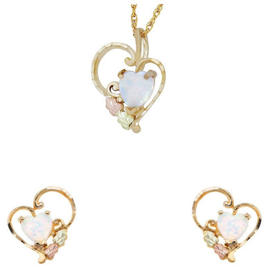 Black Hills Gold Opal Heart Earrings & Pendant Set