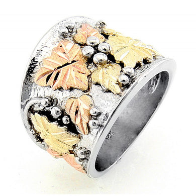 Men's Sterling Silver Black Hills Gold Wide Foliage Ring
