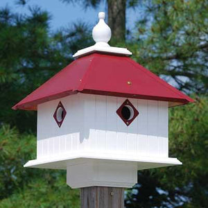 Carriage Bird House Merlot Roof - Birdhouses