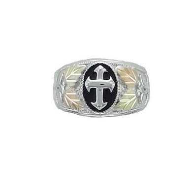 Men's Sterling Silver Black Hills Gold Antiqued Cross Ring II