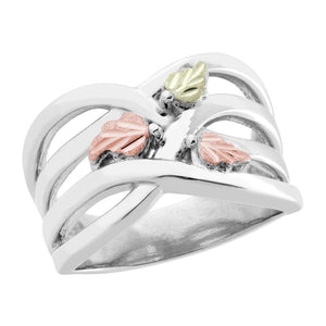 Sterling Silver Black Hills Gold Fancy Foliage Ring - Jewelry