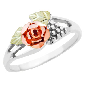 Sterling Silver Black Hills Gold Pretty Rose Ring - Jewelry