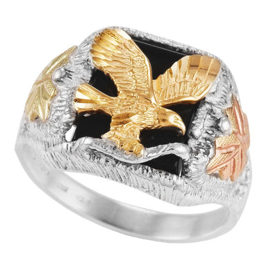 Men's Sterling Silver Black Hills Gold Onyx Eagle Ring VI