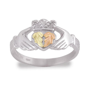 Sterling Silver Black Hills Gold Claddagh Ring II - Jewelry