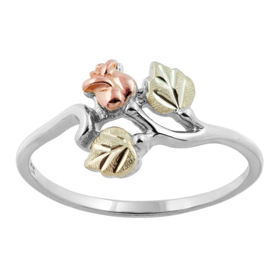 Sterling Silver Black Hills Gold Rose And Leaves Ring - Jewelry