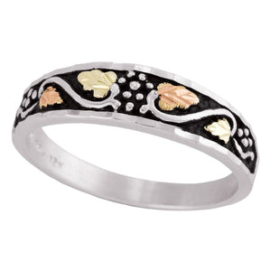 Men's Sterling Silver Black Hills Gold Antiqued Vines Ring II