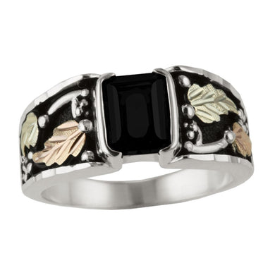 Men's Sterling Silver Black Hills Gold Square Onyx Ring II