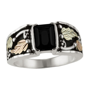 Sterling Silver Diamond /& Black Onyx Square Mens Ring 10 Size Sterling Silver