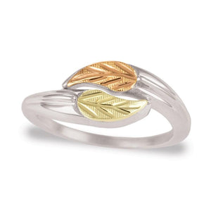 Sterling Silver Black Hills Gold Modern Foliage Ring - Jewelry