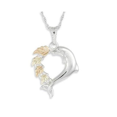 Sterling Silver Black Hills Gold Playful Dolphin Pendant - Jewelry