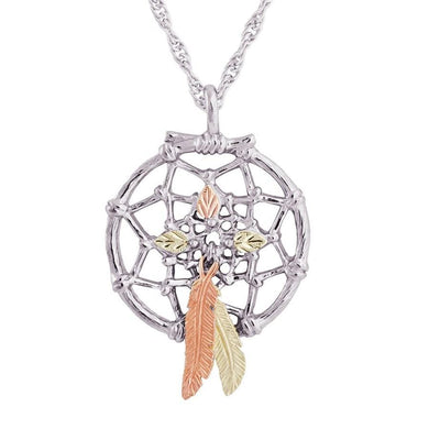 Sterling Silver Black Hills Gold Dreamcatcher Style III Pendant - Jewelry