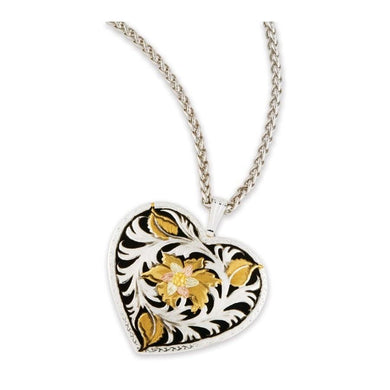 Sterling Silver Black Hills Gold Dark Heart Pendant - Jewelry