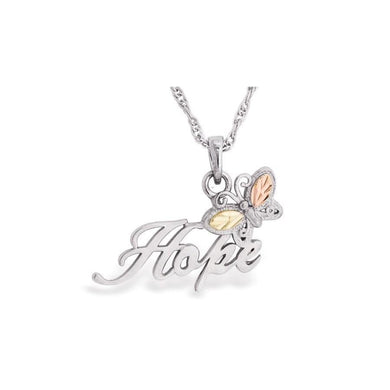 Sterling Silver Black Hills Gold Hope Butterfly Pendant - Jewelry