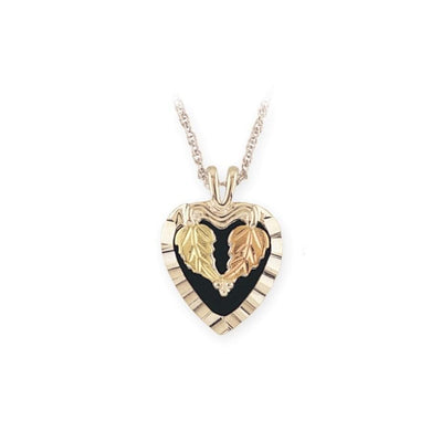 Sterling Silver Black Hills Gold Onyx Leafy Heart Pendant - Jewelry