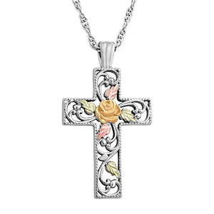Sterling Silver Black Hills Gold Elite Cross Pendant - Jewelry