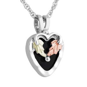 Sterling Silver Black Hills Gold Onyx Foliage Heart Pendant - Jewelry