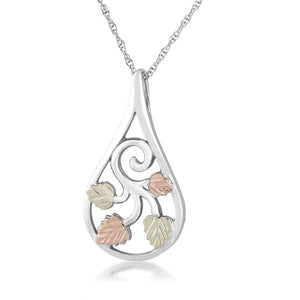 Sterling Silver Black Hills Gold Foliage Drop Pendant - Jewelry