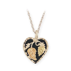 Sterling Silver Black Hills Gold Onyx Foliage Heart II Pendant - Jewelry