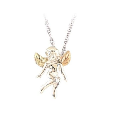 Sterling Silver Black Hills Gold Playful Angel Pendant - Jewelry