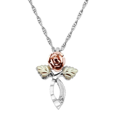 Sterling Silver Black Hills Gold Rose Pendant & Necklace - Jewelry