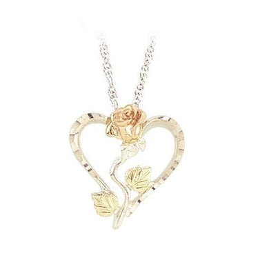 Sterling Silver Black Hills Gold Heart with Rose Pendant - Jewelry