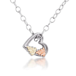 Sterling Silver Black Hills Gold Tiny Heart Pendant - Jewelry