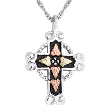 Sterling Silver Black Hills Gold Shining Cross Pendant - Jewelry