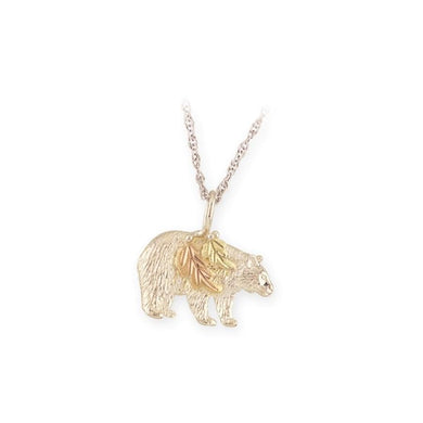 Sterling Silver Black Hills Gold Bear Pendant - Jewelry