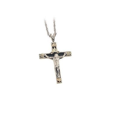 Sterling Silver Black Hills Gold Antiqued Crucifix Pendant - Jewelry