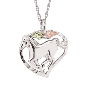 Sterling Silver Black Hills Gold Mustang Pendant - Jewelry