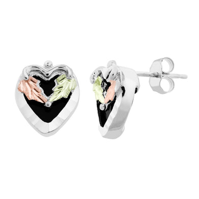 Sterling Silver Black Hills Gold Lil Onyx Heart Earrings