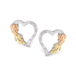 Sterling Silver Black Hills Gold Heart with Foliage Earrings II