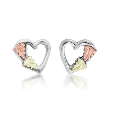 Sterling Silver Black Hills Gold Heart with Foliage Earrings