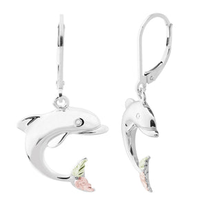 Sterling Silver Black Hills Gold Dolphin Earrings