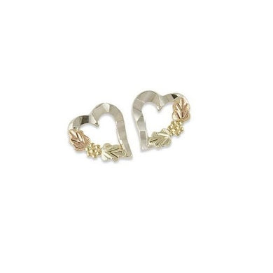 Sterling Silver Black Hills Gold Heart with Foliage Earrings III